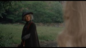 Old Mrs. Townsend (Patience Collier) offers cryptic warnings of a curse on the estate in Sidney Gilliat's Endless Night (1972)