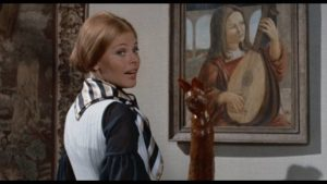 Greta (Britt Ekland) forces her way into the newlyweds' lives in Sidney Gilliat's Endless Night (1972)