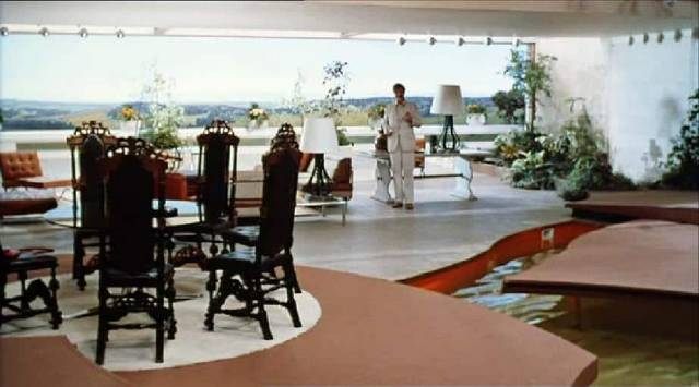 The ultra-modern house Santonix (Per Oscarsson) builds for Michael (Hywel Bennett) and Ellie (Hayley Mills) in Sidney Gilliat's Endless Night (1972)