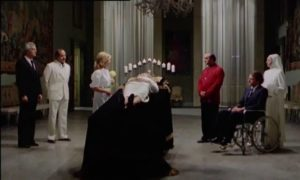 A degenerate aristocratic family gathers for the mother's funeral in Mario Bianchi's Satan's Baby Doll (1982)