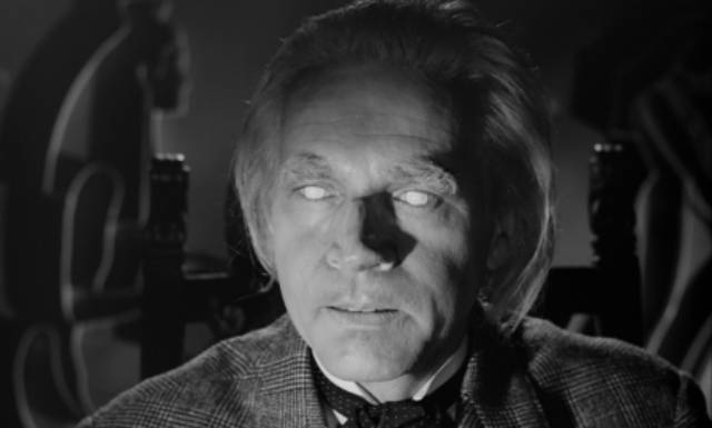The blind seer Peter Cornelius (Wolfgang Preiss) knows more than he's saying in Fritz Lang's The Thousand Eyes of Dr. Mabuse (1960)