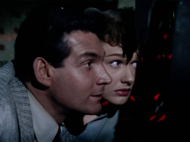 Trapped in the farmhouse Clayton and Sylvia get their first glimpse of a Martian in Byron Haskin's The War of the Worlds (1953)