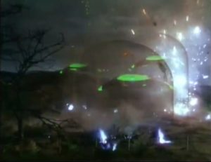 Protected by a force field, the war machines are impervious to human weapons, even atomic bombs in Byron Haskin's The War of the Worlds (1953)