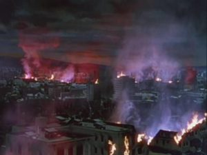 The war machines level everything in their path, including Los Angeles in Byron Haskin's The War of the Worlds (1953)