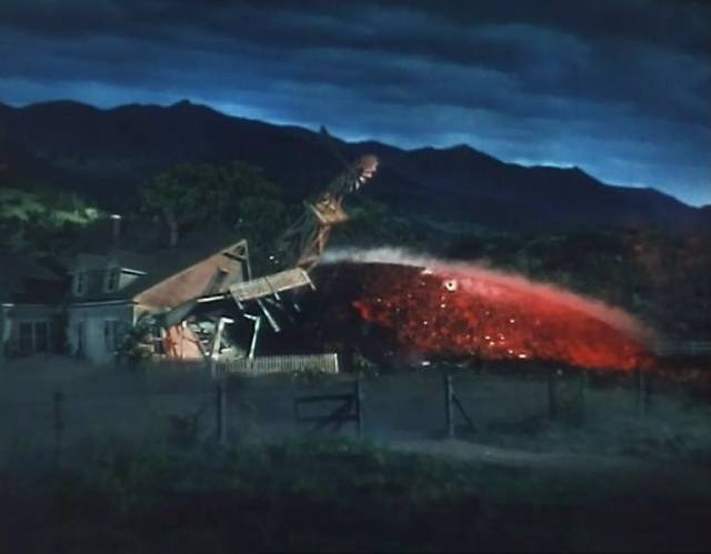 Another Martian ship crashes into a farmhouse in Byron Haskin's The War of the Worlds (1953)
