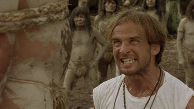"Petty crook Mike Logan (Giovanni Lombardo Radice) is a ""civilized"" monster in Umberto Lenzi's Cannibal Ferox (1981)"