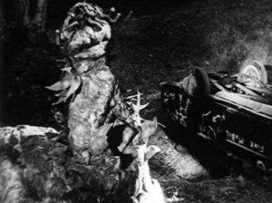 """The """"carpet monster"""" attacks Lovers' Lane in Art Nelson's The Creeping Terror (1964)"""