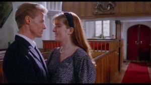Diana (Jenna Redgrave) has acute anxiety about her upcoming marriage to Oliver (Mark Greenstreet) in Harley Cokeliss' Dream Demon (1988)