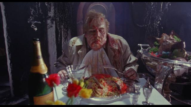 Obnoxious press photographer Peck (Timothy Spall) becomes the embodiment of gluttony in Harley Cokeliss' Dream Demon (1988)