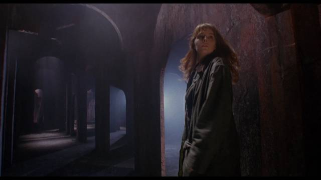 Diana (Gemma Redgrave) gets lost in the house's vast cellar in Harley Cokeliss' Dream Demon (1988)