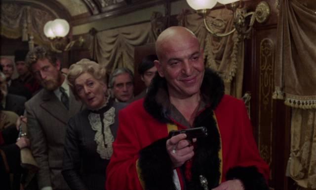 Telly Savalas chews the scenery as Cossack Captain Kazan in Eugenio Martin's Horror Express (1972)