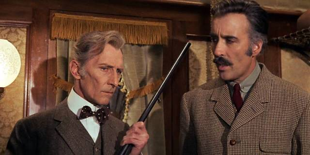 Peter Cushing and Christopher Lee team up against a soul-sucking alien in Eugenio Martin's Horror Express (1972)