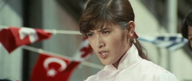 19-year-old Etsuko Shihomi as Li Koryu, kicking butt undercover for the police in the Sister Streetfighter series