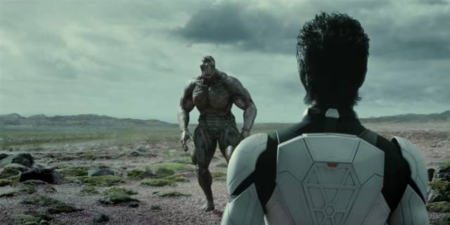 An indentured soldier faces down a giant cockroach in Takashi Miike's Terraformars (2016)