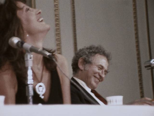 The mood swings widely between good humour... in Chris Hegedus and D.A. Pennebaker's Town Bloody Hall (1979)