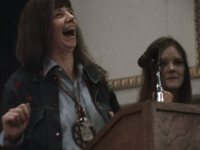 Writer Jill Johnson takes pleasure in her own performance in Chris Hegedus and D.A. Pennebaker's Town Bloody Hall (1979)