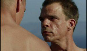 Master Sergeant Galoup (Denis Lavant) feels inexpressible rage towards Sentain (Grégoire Colin) in Claire Denis' Beau Travail (1999)
