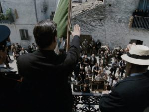 The mayor tries to stir enthusiasm among a disinterested population for Mussolini's war in Francesco Rosi's Christ Stopped at Eboli (1979)