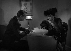 Prof. Alvah Jesper encounters a double-agent (Marjorie Hoshelle) in Switzerland in Fritz Lang's Cloak and Dagger (1946)