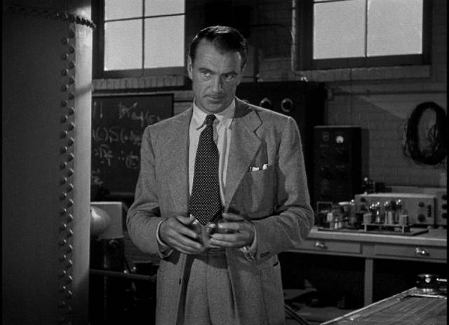 Scientist Alvah Jesper (Gary Cooper), concerned about his part in atomic research, in Fritz Lang's Cloak and Dagger (1946)