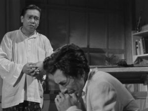 Freedom fighter Iskandar (A.N. Alcaff) is plagued by guilt in Usmar Ismail's After the Curfew (1954)