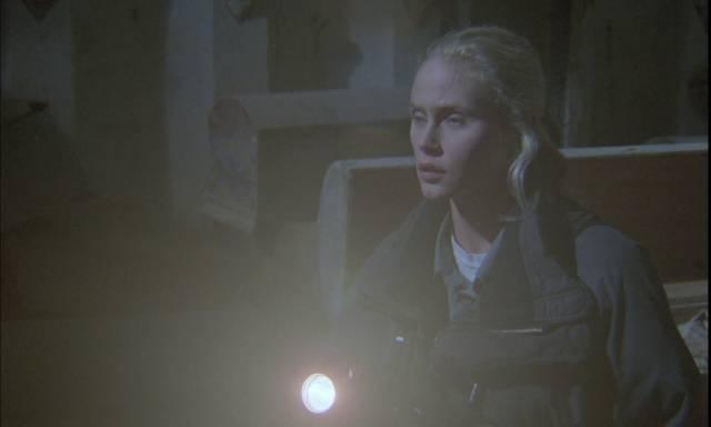 Lisa Harris (Meg Register) explores a Medieval convent in Lucio Fulci's Demonia (1990)