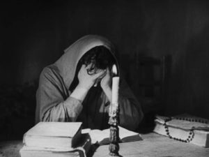 Javier (Carlos Villatoro) is tormented by the past in Juan Bustillo Oro's Dos Monjes (1934)