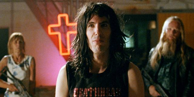 Roy Mascarone aka Jesus (Guillermo Llanso) shows the way out of Psychobook in Miguel Llanso's Jesus Shows You the Way to the Highway (2019)