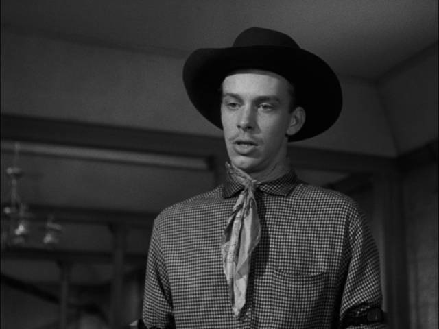 Local wannabe Hunt Bromley (Skip Homeier) tries to provoke a showdown in Henry King's The Gunfighter (1950)