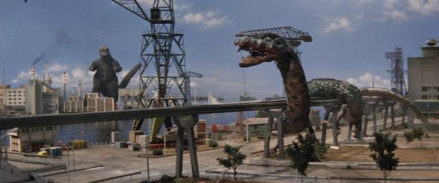 Godzilla has to deal with multiple critters controlled by aliens, including Manda, in Ishiro Honda's Destroy All Monsters (1968)