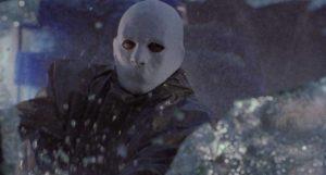 A masked killer stalks a small town in Jose Ramon Larraz's Edge of the Axe (1988)