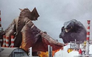 The revived giant turtle faces Gyaos again in Shusuke Kaneko's Gamera: Guardian of the Universe (1995)