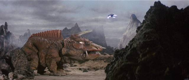 Gamera flies in to confront another monster in Noriaka Yuasa's Gamera vs Giger (1970)