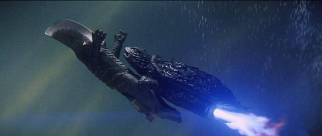 Gamera blasts off with the blade-headed beast in Noriaki Yuasa's Gamera vs Guiron (1969)