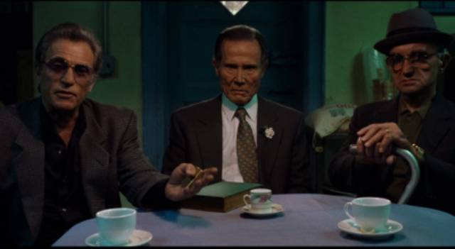 Sonny Valerio (Cliff Gorman), Ray Vargo (Henry Silva) and family consigliere (Gene Ruffini) order a hit in Jim Jarmusch's Ghost Dog: The Way of the Samurai (1999)