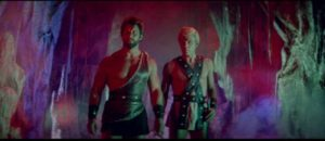 Hercules (Reg Park) and his friend Theseus (George Ardisson) enter the Underworld in Mario Bava's Hercules in the Haunted World (1961)