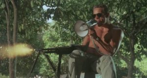 Murphy (Brian Thompson) trains his mercenary team in Nico Mastorakis' Hired to Kill (1989)