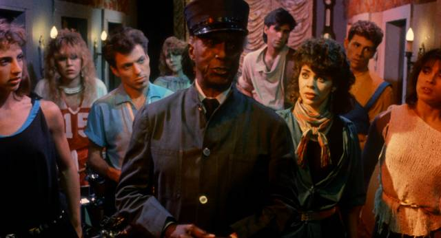 """The """"young people"""" provide musical interludes in Night Train to Terror (1985)"""