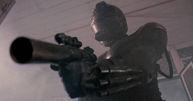 Half man, half machine, the not-so-ultimate weapon in Bruno Mattei and Claudio Fragasso's Robowar (1988)