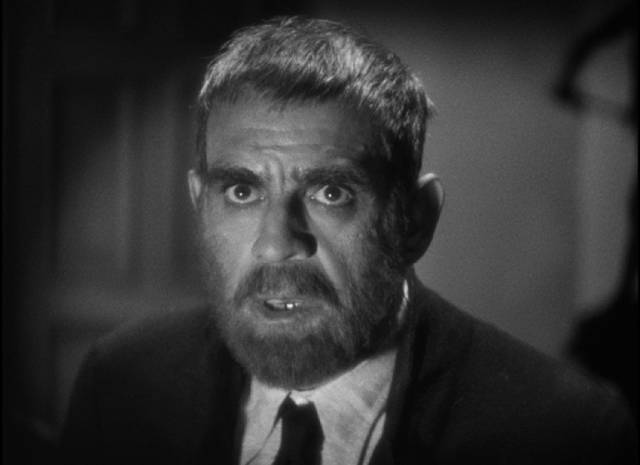 Criminal Edmond Bateman (Boris Karloff) before asking Dr, Richard Vollin for a make-over in Lew Landers' The Raven (1935)