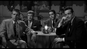 Four friends (Alvy Moore, Brian Keith, Kerwin Mathews, Guy Madison) decide to rob a casino in Phil Karlson's 5 Against the House (1955)