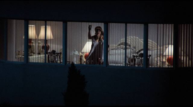 Spying on his neighbour, Jake (Craig Wasson) sees a murder in Brian De Palma's Body Double (1984)