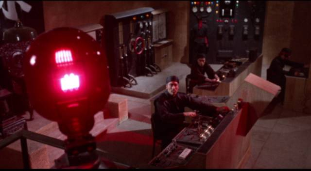 Fu Manchu (Christopher Lee) builds a death ray in Don Sharp's The Brides of Fu Manchu (1966)