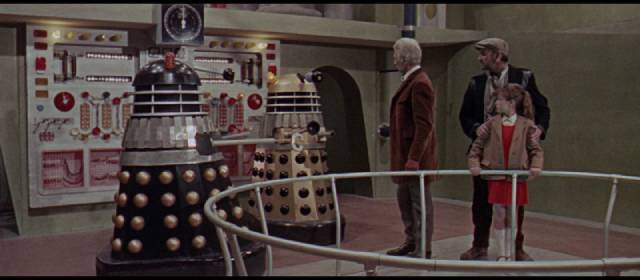 The Doctor (Peter Cushing) outsmarts the invaders in Gordon Flemyng's Daleks: Invasion Earth 2150AD (1966)