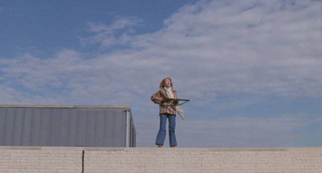 Fran (Gaylen Ross) looks out over a world she knows she'll eventually have to return to in George A. Romero's Dawn of the Dead (1978)