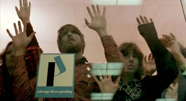 The dead, locked out of the Mall, just keep wanting to get back inside in George A. Romero's Dawn of the Dead (1978)