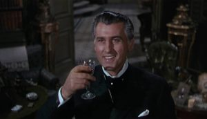 Stephen Lowry (Stewart Granger) offers a toast to the wife he has recently murdered in Arthur Lubin's Footsteps in the Fog (1955)