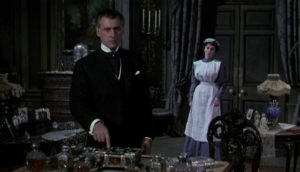 Housemaid Lily Watkins (Jean Simmons) seeks promotion by blackmailing her employer Stephen Lowry (Stewart Granger) in Arthur Lubin's Footsteps in the Fog (1955)