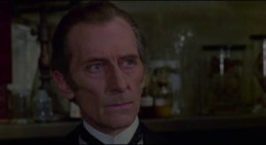 Utterson (Peter Cushing) suspects something is wrong with his acquaintance in Stephen Weeks' I, Monster (1971)