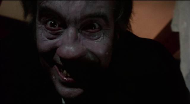 The make-up design for Mr. Blake (Christopher Lee) edges towards inadvertent comedy in Stephen Weeks' I, Monster (1971)